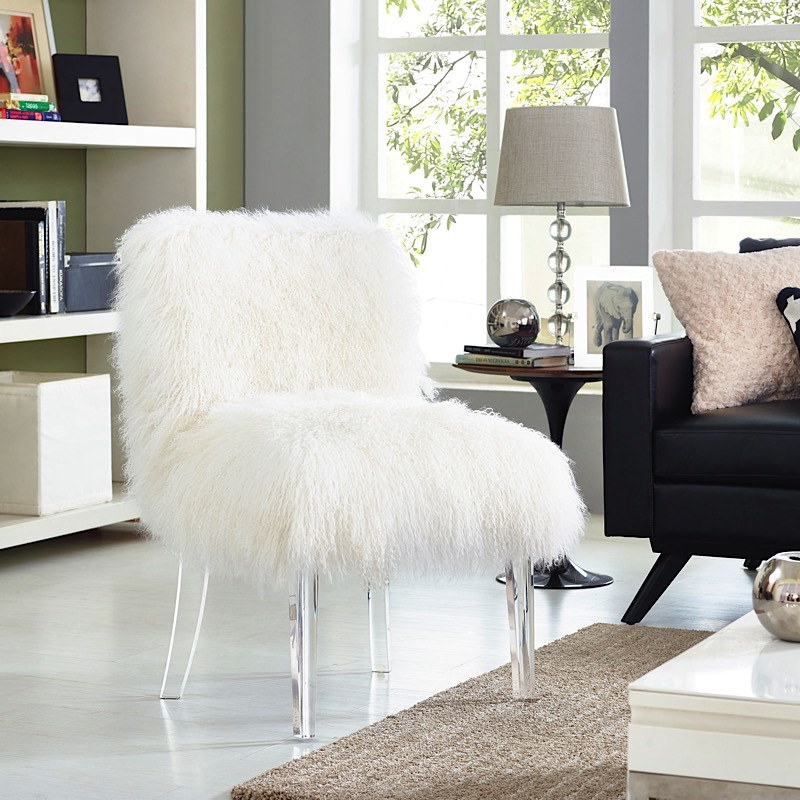 Sophie Sheepskin Chair   White | Lucite