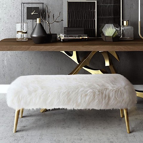 Churra Sheepskin Bench