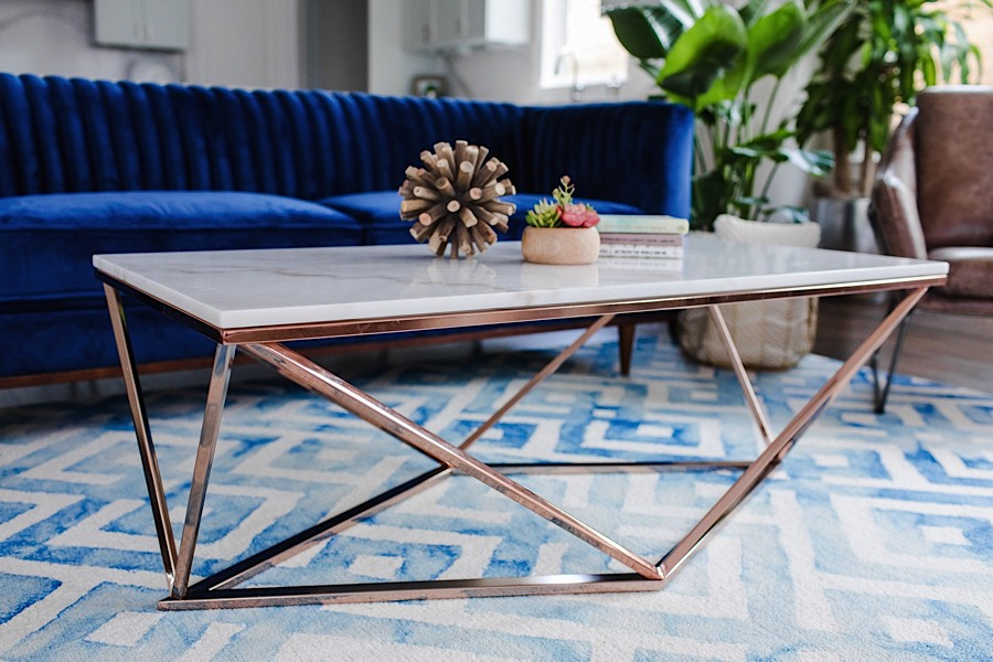Aria Coffee Table White Marble Rose Gold Modern Digs