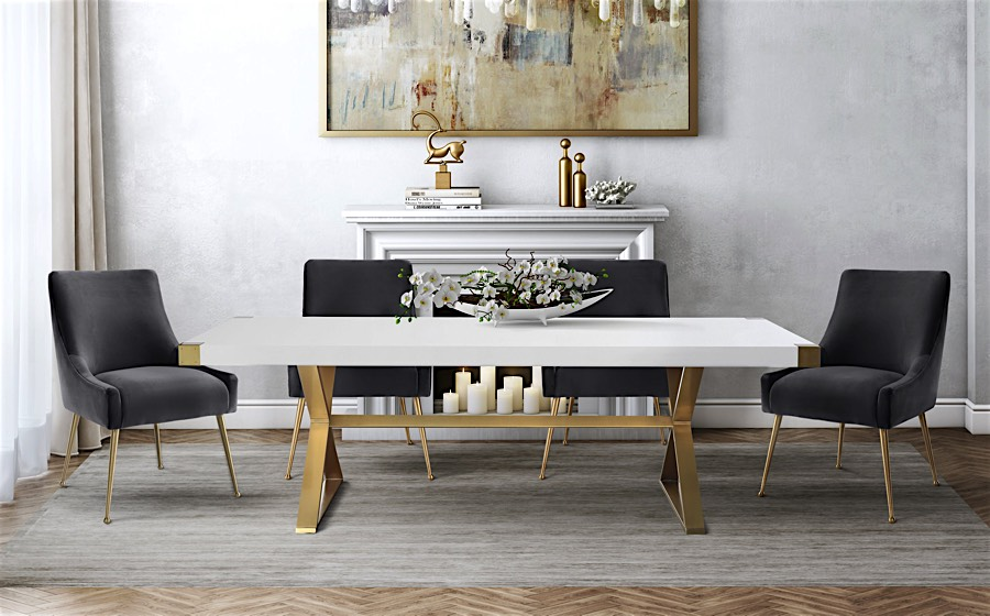 White And Gold Dining Chairs: Edina White And Gold Dining Table