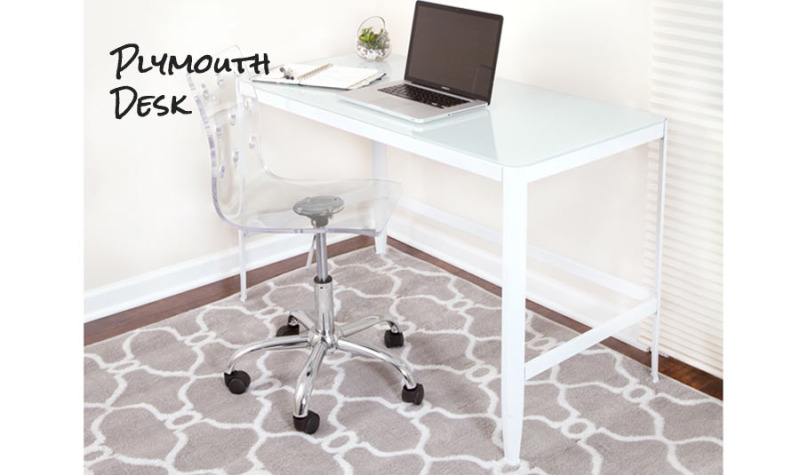 Our Plymouth Desk Is A Study In Simplicity Boasts Powder Coated Steel Frame Ideal For Easy Assembly And Disassembly Clean White Glass Top